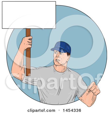 Clipart Graphic of a Sketched Drawing of a Male Protester Union Worker Holding up a Blank Sign in a Blue Circle - Royalty Free Vector Illustration by patrimonio