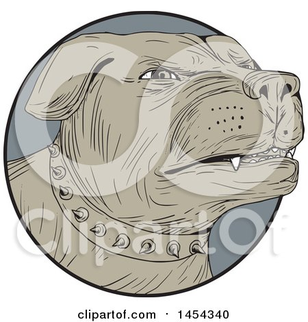 Clipart Graphic of a Sketched Drawing of an Aggressive Rottweiler Dog Wearing a Spiked Collar in a Gray Circle - Royalty Free Vector Illustration by patrimonio