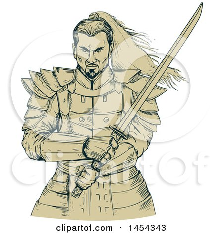 Clipart Graphic of a Sketched Drawing of a Tough Samurai Warrior Holding a Katana Sword - Royalty Free Vector Illustration by patrimonio