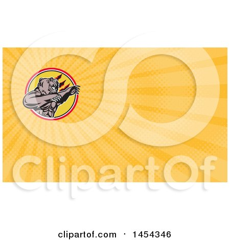 Clipart of a Retro California Grizzly Bear Attacking in a Black White Yellow and Red Circle and Orange Rays Background or Business Card Design - Royalty Free Illustration by patrimonio