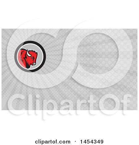 Clipart of a Retro Red Buffalo Head in a Black White and Gray Circle and Gray Rays Background or Business Card Design - Royalty Free Illustration by patrimonio