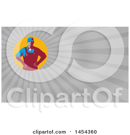 Clipart of a Retro Male Farmer with Hands on His Hips in an Orange Circle and Gray Rays Background or Business Card Design - Royalty Free Illustration by patrimonio