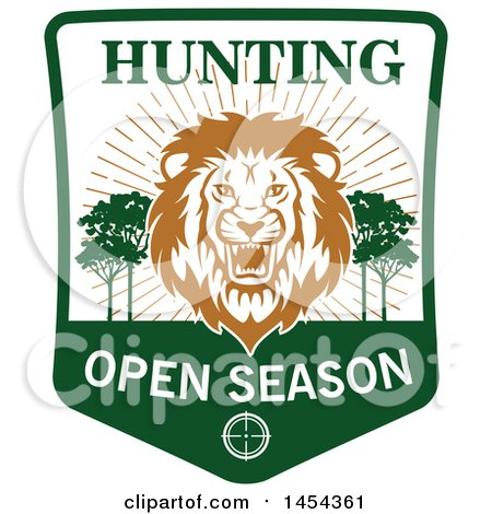 Clipart Graphic of a Roaring Male Lion Hunting Open Season Shield - Royalty Free Vector Illustration by Vector Tradition SM