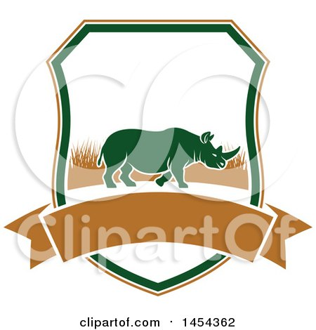 Clipart Graphic of a Rhino Hunting Shield - Royalty Free Vector Illustration by Vector Tradition SM