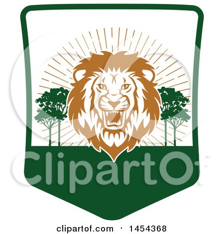 Clipart Graphic of a Roaring Male Lion Hunting Shield - Royalty Free Vector Illustration by Vector Tradition SM