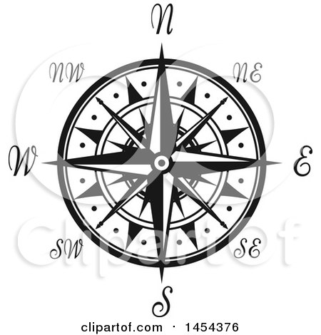 Black And White Nautical Compass Rose