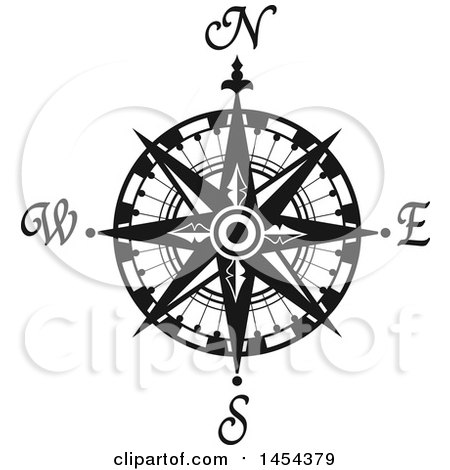 Clipart Graphic of a Black and White Nautical Compass Rose ...