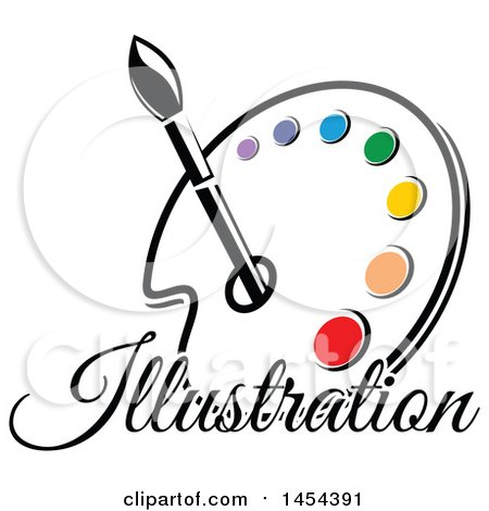 Paint Palette with Illustration Text, an Art Paintbrush and Colors Posters, Art Prints
