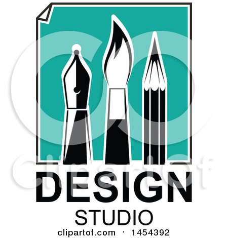 Turquoise Paper with Black and White Artist Pen Nib, Paintbrush and Pencil over Design Studio Text Posters, Art Prints
