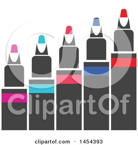 Clipart Graphic of a Row of Colored Markers - Royalty Free Vector Illustration by Vector Tradition SM