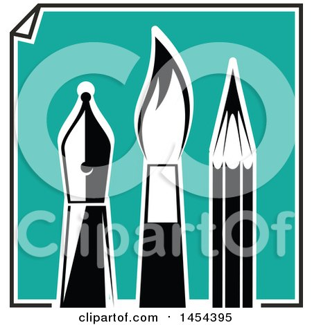 Clipart Graphic of a Turquoise Paper with Black and White Artist Pen Nib, Paintbrush and Pencil - Royalty Free Vector Illustration by Vector Tradition SM