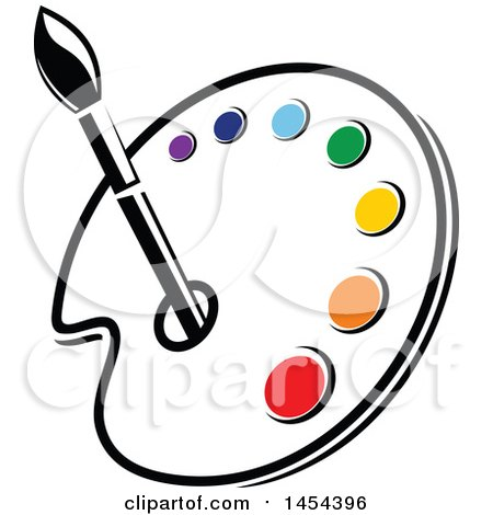 Clipart Graphic of a Paint Palette with an Art Paintbrush and Colors - Royalty Free Vector Illustration by Vector Tradition SM