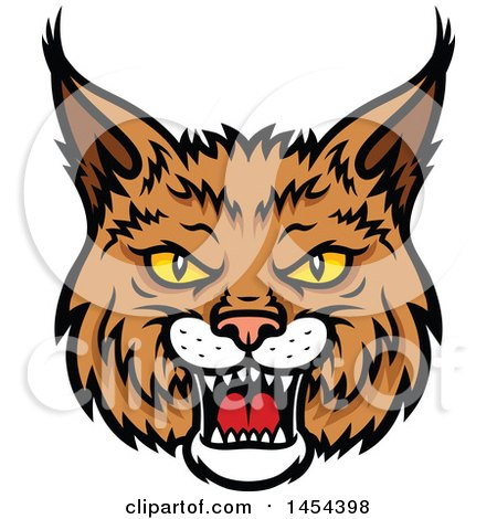 Clipart Graphic of a Tough Bobcat Lynx Mascot Face - Royalty Free Vector Illustration by Vector Tradition SM