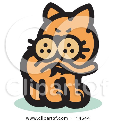 Cat Biting His Tail to Ease a Flea Itch Clipart Illustration by Andy Nortnik