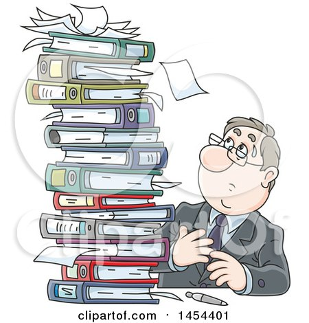 Clipart Graphic of a Cartoon Stressed White Business Man at a Desk, Looking up at a Stack of Binders and Books - Royalty Free Vector Illustration by Alex Bannykh