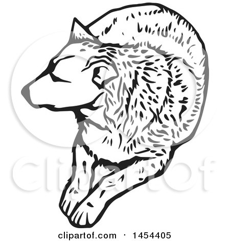 Clipart Graphic of a Black and White Resting Dog - Royalty Free Vector Illustration by Any Vector