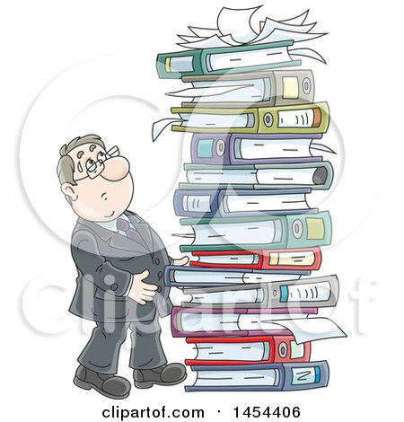 Clipart Graphic of a Cartoon White Business Man by a Giant Stack of Books Binders and Paperwork - Royalty Free Vector Illustration by Alex Bannykh