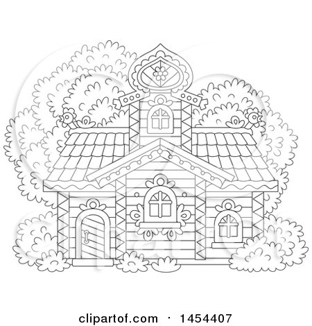 Clipart Graphic Of A Cartoon Black And White Lineart Cottage