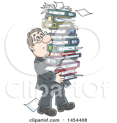 Clipart Graphic of a Cartoon White Business Man Carrying a Stack of Books Binders and Paperwork - Royalty Free Vector Illustration by Alex Bannykh