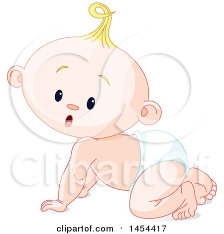 Clipart Graphic of a Cute Curious Blond Caucasian Baby Boy Crawling - Royalty Free Vector Illustration by Pushkin