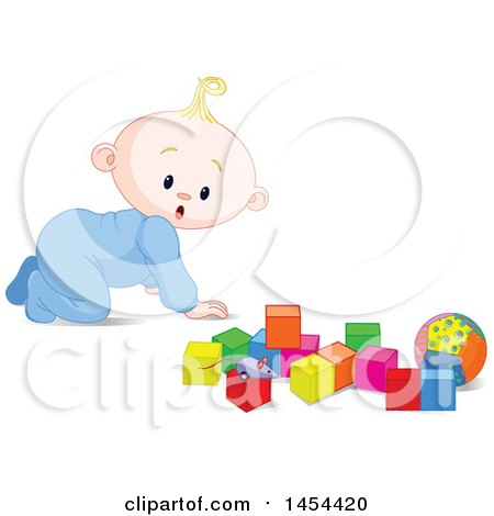 Clipart Graphic of a Cute Surprised or Curious Blond Caucasian Baby Boy Crawling and Looking at Toy Blocks - Royalty Free Vector Illustration by Pushkin