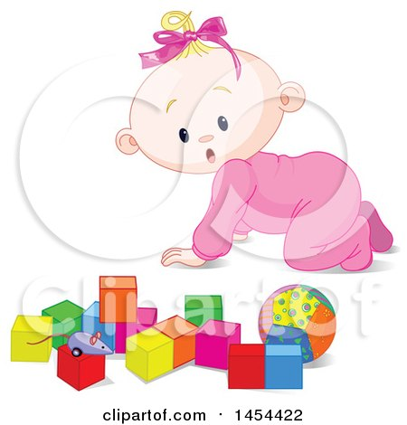 Clipart Graphic of a Cute Surprised or Curious Blond Caucasian Baby Girl Crawling and Looking at Toy Blocks - Royalty Free Vector Illustration by Pushkin