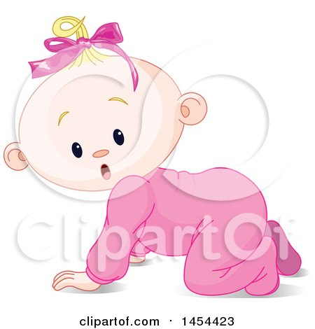 Clipart Graphic of a Cute Surprised or Curious Blond Caucasian Baby Girl Crawling - Royalty Free Vector Illustration by Pushkin