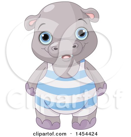 Clipart Graphic of a Cute Baby Boy Hippo - Royalty Free Vector Illustration by Pushkin
