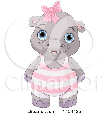 Clipart Graphic of a Cute Baby Girl Hippo - Royalty Free Vector Illustration by Pushkin