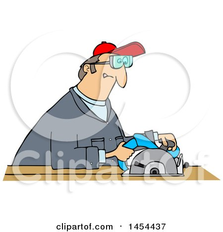 Clipart Graphic of a Cartoon White Man Using a Circular Saw - Royalty Free Vector Illustration by djart