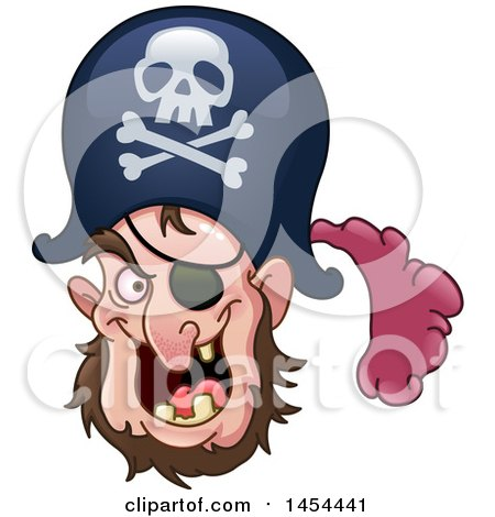 Clipart Graphic of a Nearly Toothless Pirate with an Eye Patch - Royalty Free Vector Illustration by yayayoyo