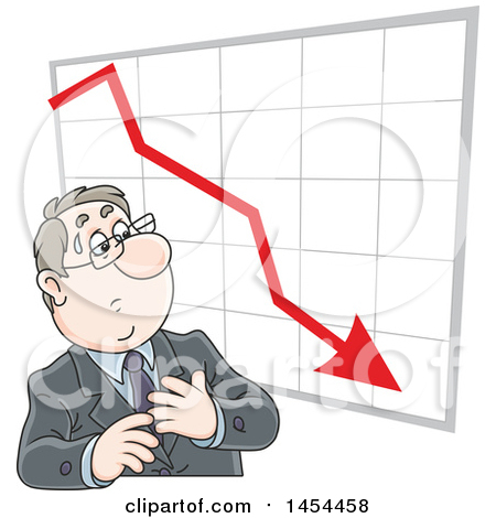 Clipart Graphic of a Cartoon White Business Man Looking at a Loss Chart - Royalty Free Vector Illustration by Alex Bannykh