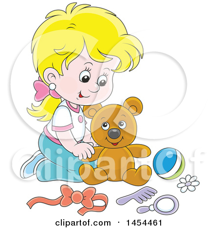 Clipart Graphic of a Cartoon Blond White Girl Playing with a Teddy Bear - Royalty Free Vector Illustration by Alex Bannykh