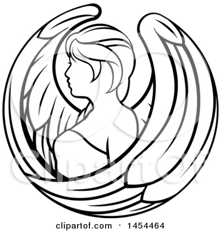 Black and white lineart virgo angel astrology zodiac horoscope posters art prints