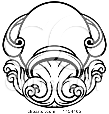 Clipart Graphic of a Black and White Lineart Aquarius Pitcher Astrology Zodiac Horoscope - Royalty Free Vector Illustration by AtStockIllustration