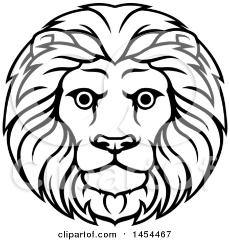 Clipart Graphic of a Black and White Lineart Leo Lion Face and Mane Astrology Zodiac Horoscope - Royalty Free Vector Illustration by AtStockIllustration