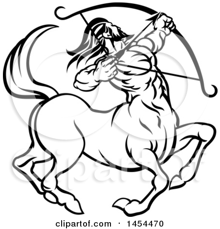 Clipart Graphic of a Black and White Lineart Sagittarius Centaur Archer Astrology Zodiac Horoscope - Royalty Free Vector Illustration by AtStockIllustration