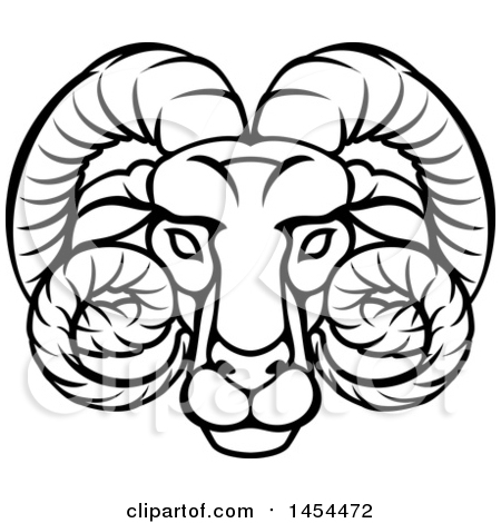 Clipart Graphic of a Black and White Lineart Aries Ram Astrology Zodiac Horoscope - Royalty Free Vector Illustration by AtStockIllustration