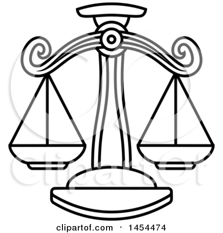 Clipart Graphic of a Black and White Lineart Libra Scales Astrology Zodiac Horoscope - Royalty Free Vector Illustration by AtStockIllustration