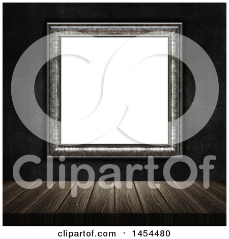 Clipart Graphic of a 3d Blank Picture Frame on a Dark Wall over a Wood Table - Royalty Free Illustration by KJ Pargeter