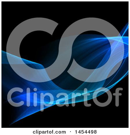 Clipart Graphic of a Blue Flowing Wave on Black - Royalty Free Vector Illustration by KJ Pargeter