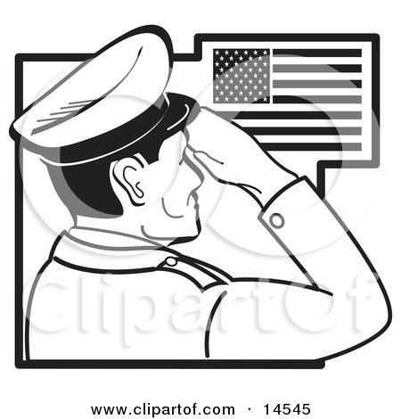 Military Man Saluting The American Flag On The Fourth Of July Clipart Illustration by Andy Nortnik