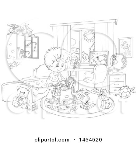 Clipart Graphic Of A Cartoon Black And White Lineart School Boy Packing His Backpack In Bedroom