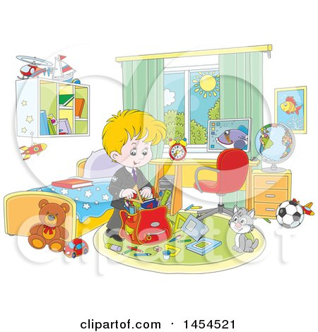 Clipart Graphic of a Cartoon White School Boy Packing His Backpack in His Bedroom - Royalty Free Vector Illustration by Alex Bannykh