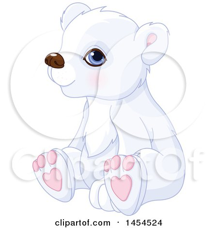 Clipart Graphic of a Cute Adorable Sitting Polar Bear Cub - Royalty Free Vector Illustration by Pushkin