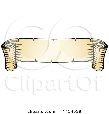 Clipart Graphic of a Sketched Parchment Scroll Ribbon Banner - Royalty Free Vector Illustration by cidepix