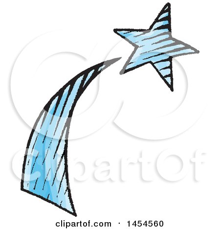 Clipart Graphic of a Sketched Shooting Star - Royalty Free Vector Illustration by cidepix