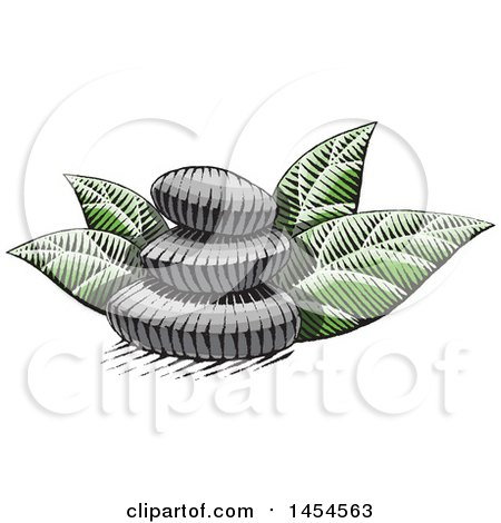 Clipart Graphic of a Sketched Stack of Spa Stones and Leaves - Royalty Free Vector Illustration by cidepix