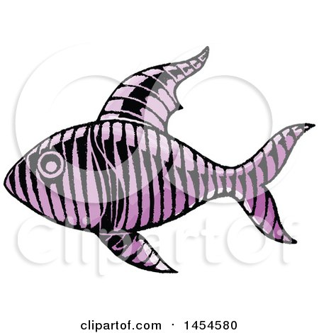 Clipart Graphic of a Sketched Purple Fish - Royalty Free Vector Illustration by cidepix
