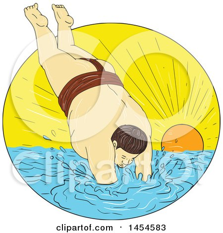 Clipart Graphic of a Drawing Sketch Styled Sumo Wrestler Diving into the Sea Against a Sunset - Royalty Free Vector Illustration by patrimonio